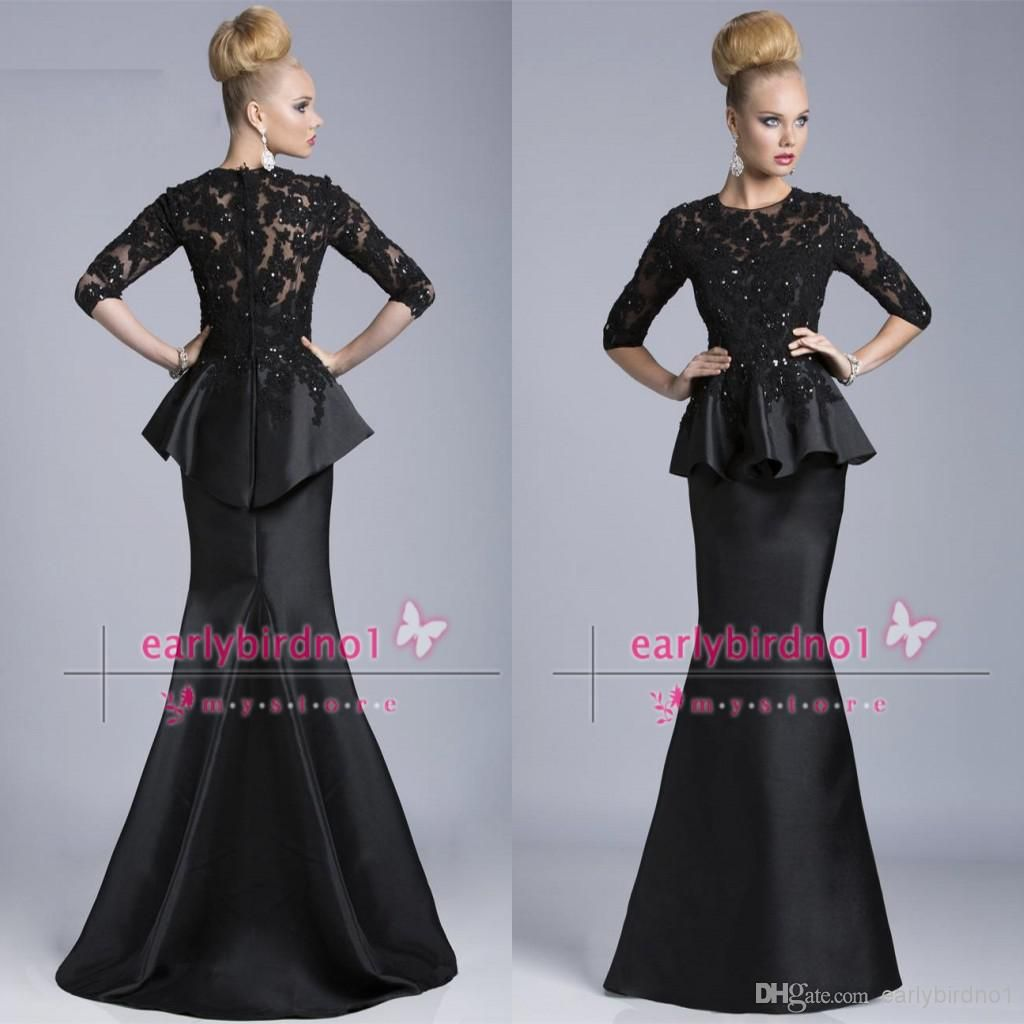 Black half long sleeve mother of the bride dresses janique