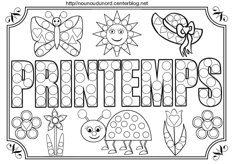 Activit s gomettes sur le th me du printemps dessin collage gommette coloriage printemps - Image du printemps a colorier ...