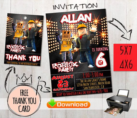 Roblox Invitation Free Thank You Cards Party