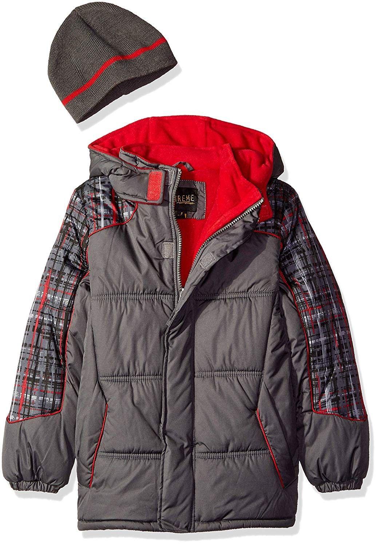 Boys Plaid Print Gwp Puffer Charcoal Cj12io1ep7h Boys Plaid Striped Jacket Winter Outwear [ 1500 x 1039 Pixel ]