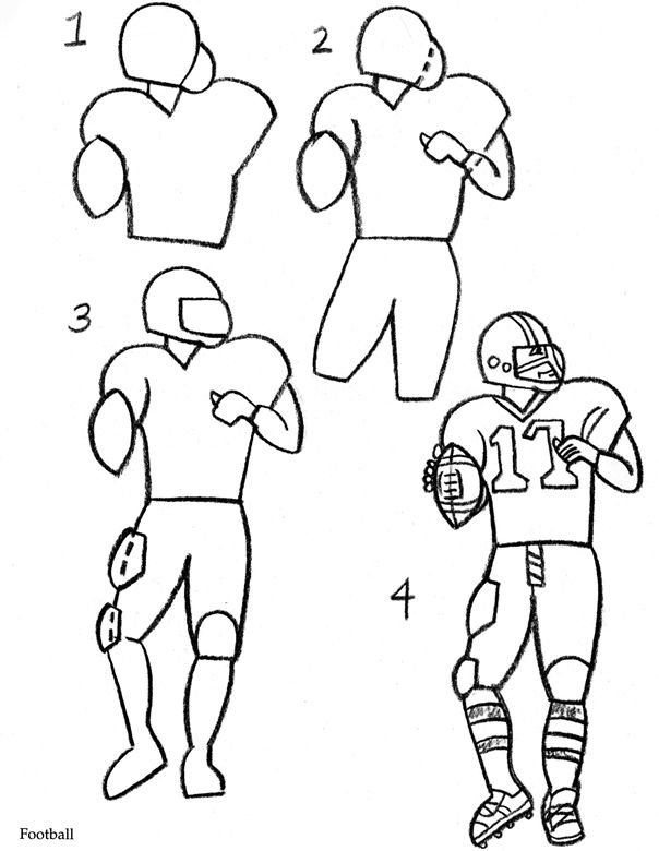 Football Drawing Easy : football, drawing, Welcome, Dover, Publications, Football, Player, Drawing,, Sports, Drawings