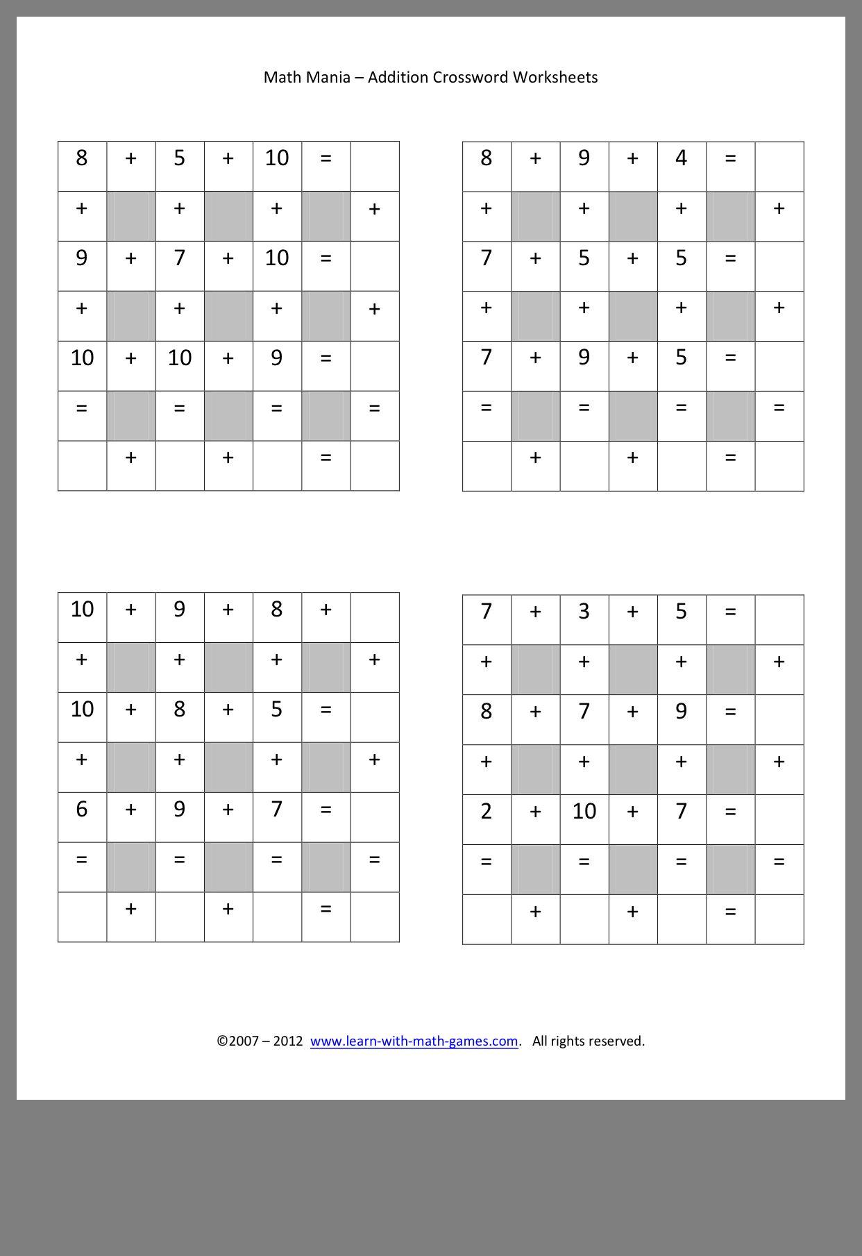 Pin By Mirit On Math Worksheets Maths Worksheet Math Addition Math Worksheets Math addition puzzle worksheets