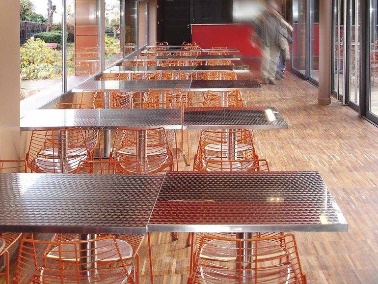 Sedia a slitta da ristorante net metalmobil. acciaio
