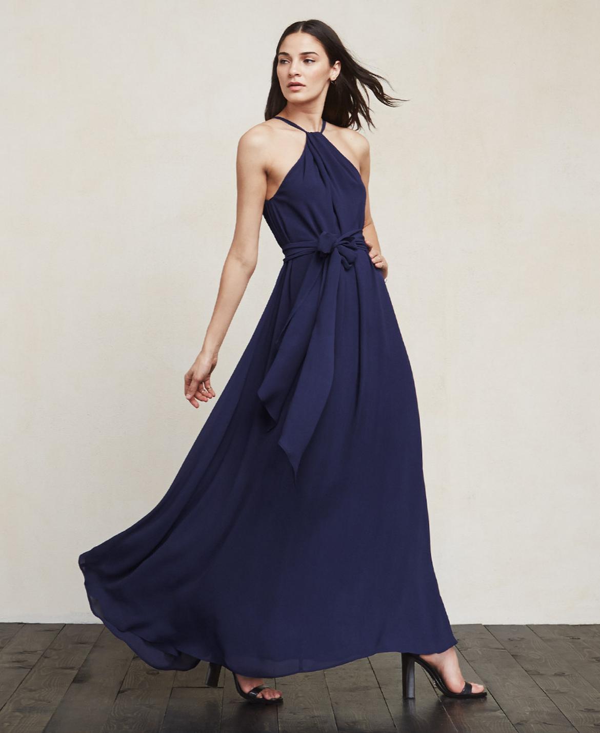 1047053e26 Reformation navy georgette halter neck bridesmaid dress
