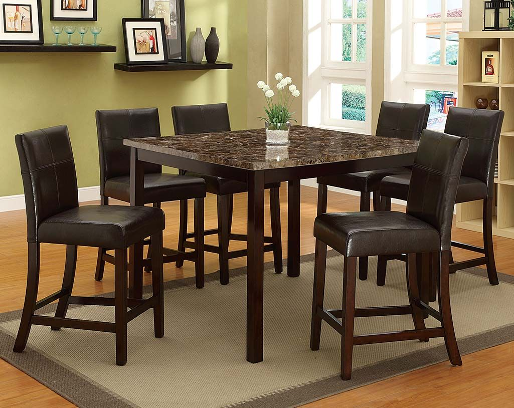 Bonded Leather, Marble Top | Pompei 5 Piece Counter Height Dining ...