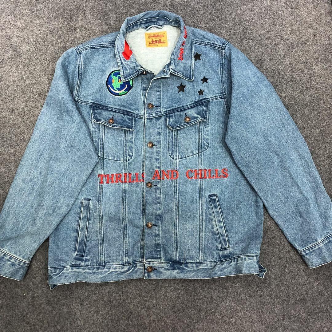 19ss Travis Scott Astroworld Jacket Graffiti 1 1 High Quality Jean Jackets Embroidery Denim C [ 1080 x 1080 Pixel ]