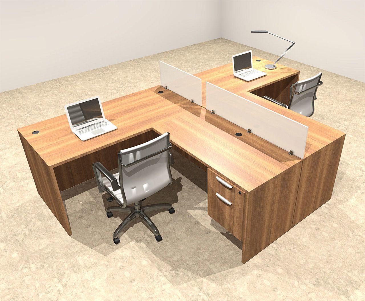 Two Person L Shaped Divider Office Workstation Desk Set Ot Sul