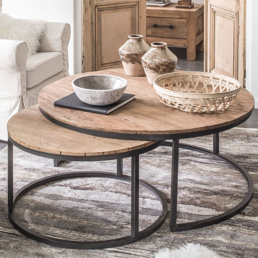 Tables Basses Gigognes Industrielles En Orme Et Metal Transition Round Coffee Table Living Room Coffee Table Moroccan Decor Living Room [ 900 x 900 Pixel ]