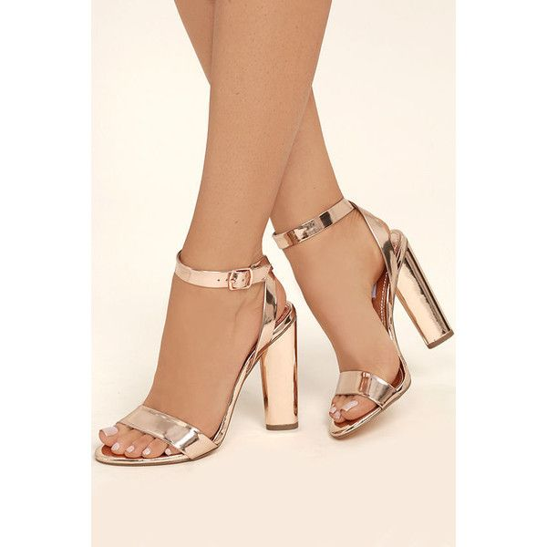 b59574274fab Steve Madden Treasure Rose Gold Leather Ankle Strap Heels ( 99) ❤ liked on  Polyvore