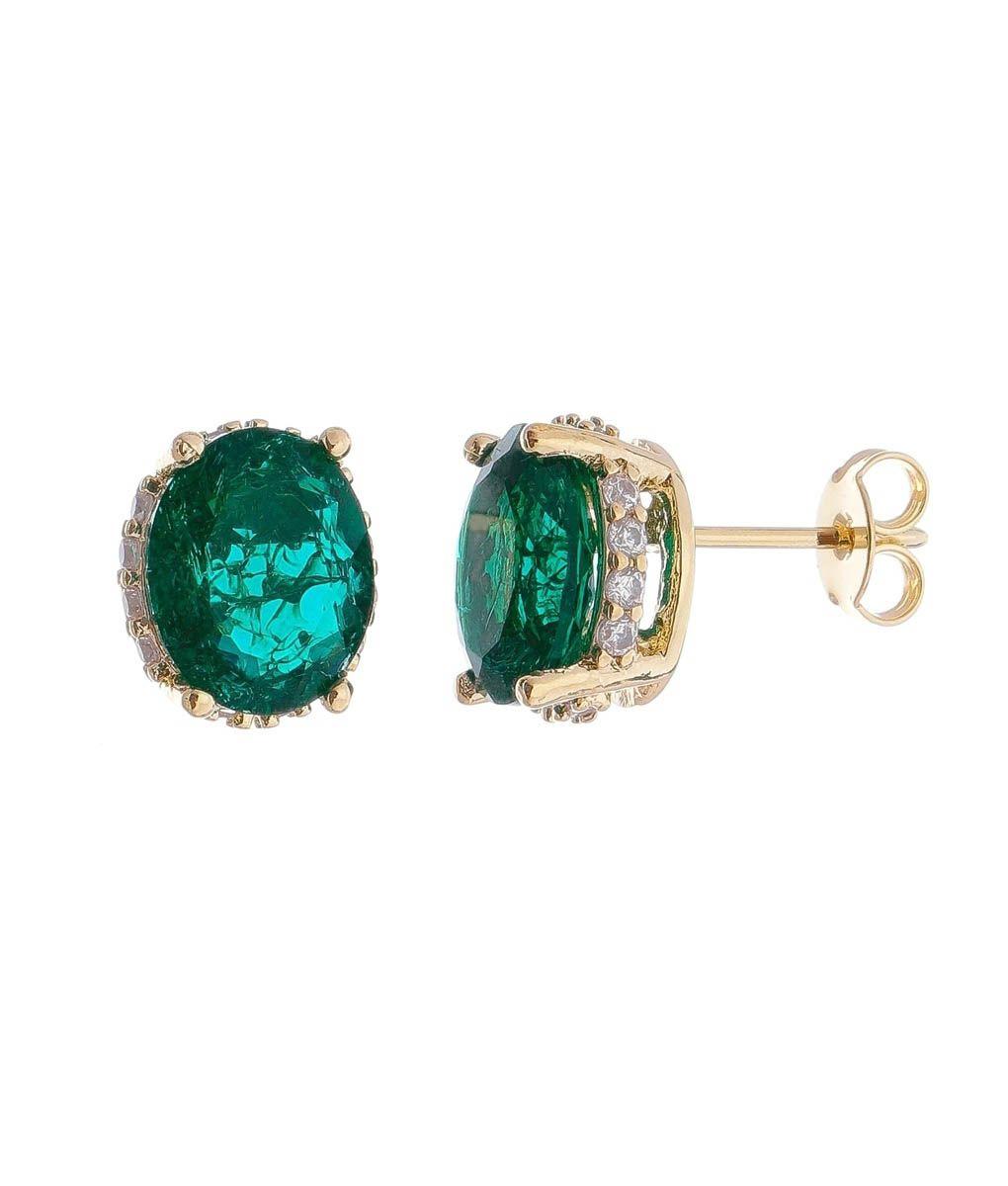 Compre Brinco esmeralda fusion oval com galeria cravejada de zirconias  banho de ouro na Waufen ✓ 9c67cc015f