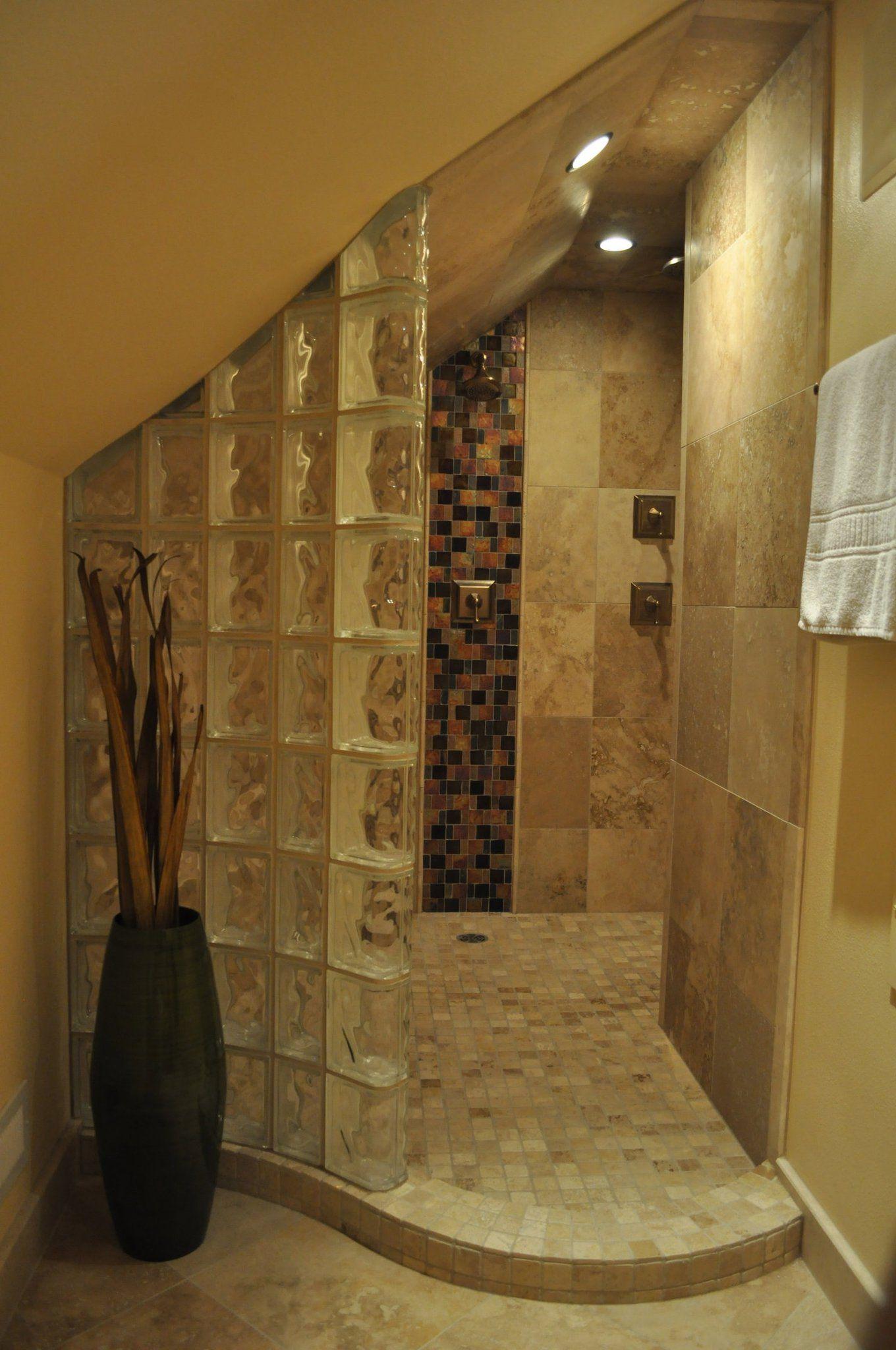 Double Shower Travertine Glass Block Wall Kohler