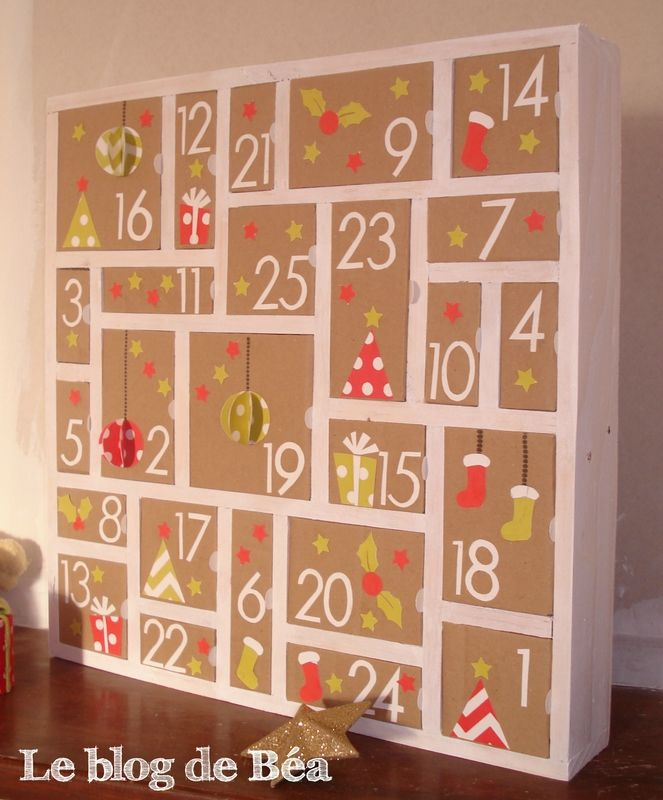diy calendrier de l 39 avent en bois de palette et carton de. Black Bedroom Furniture Sets. Home Design Ideas