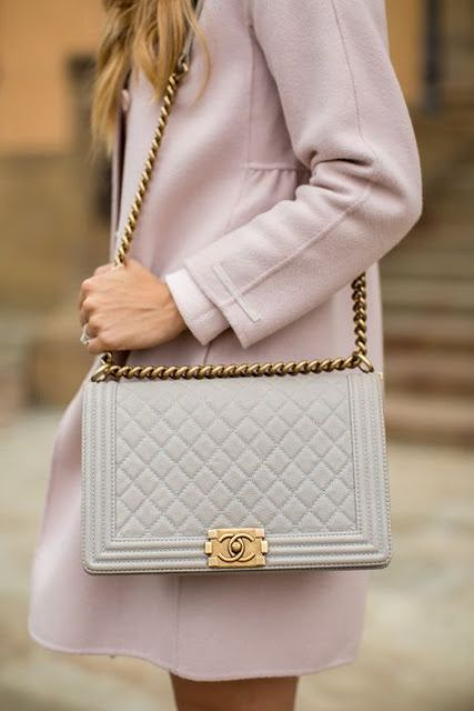 f98dc9315884 Chic winter look | Pastel lilac coat with Coco Chanel handbag | Bags ...