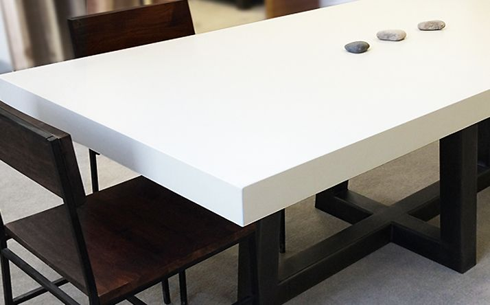 Trueform Torre Rectangle Concrete Dining Table Used As A Conference In Antique White With Black Metal Base