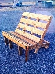 Make a Bench from Pallets  Wow! that look easy.  I think i could even do that