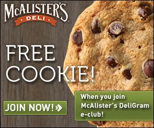 photograph relating to Mcalister's Coupons Printable identify No cost Cookie at McAlisters Deli! Freebies Mcalisters