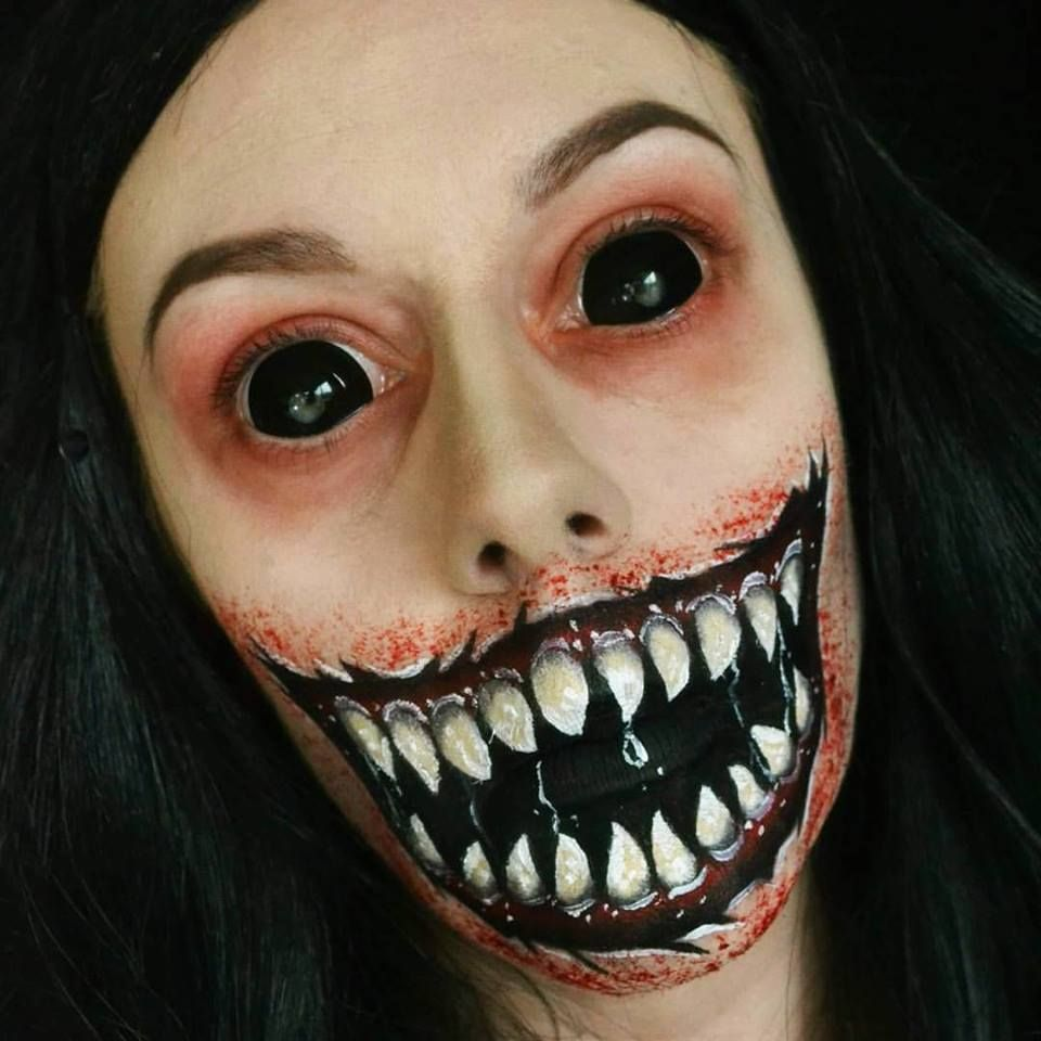 Halloween Sminkningar Clown.Sclera Contact Lenses Demon Mouth Scary Halloween Makeup