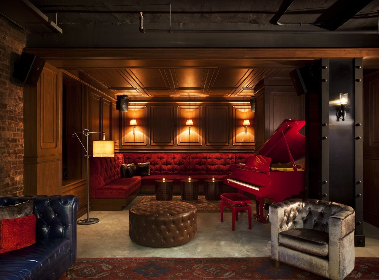 Lobby Lounge With Red Baby Grand Piano At The NYLO Hotel NYC