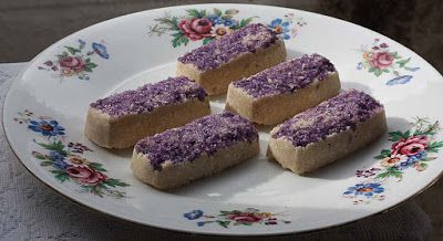 Violet Coconut Bars, don't they look appetising with the violet crystals? by @shaheenA2K
