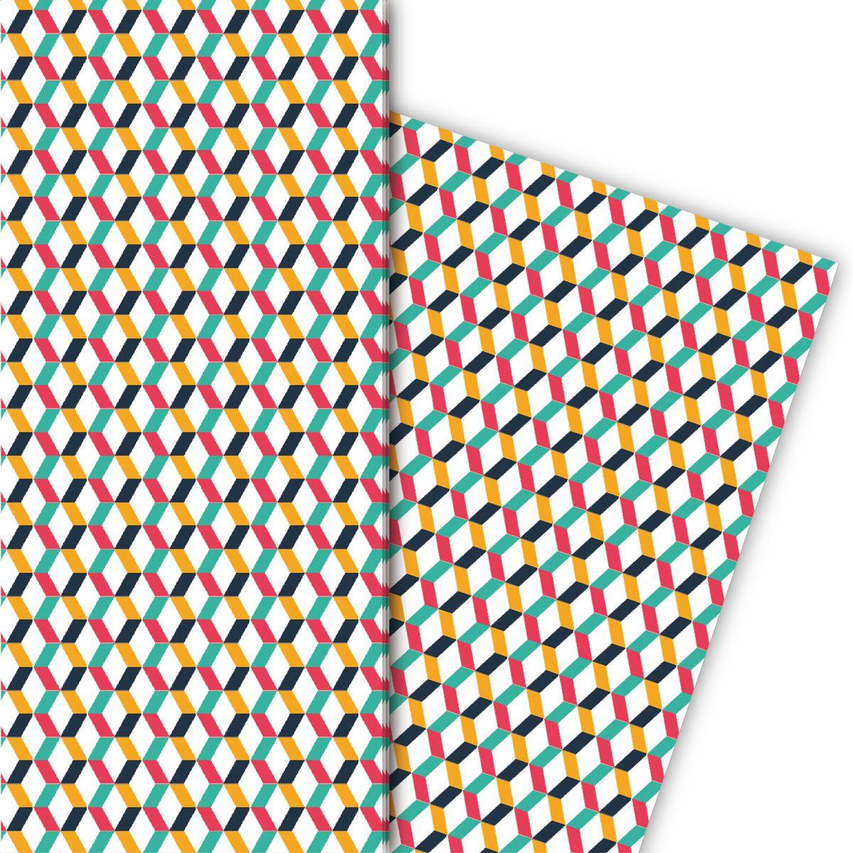 Grafisches Designer Geschenkpapier mit Zickzack Muster (4 Bögen 32 x 48cm) 1