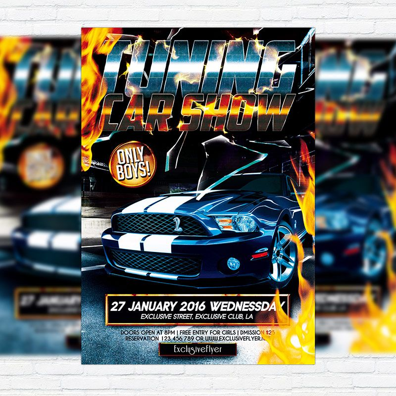 Tuning Car Show - Premium Flyer Template + Facebook Cover   - car flyer template