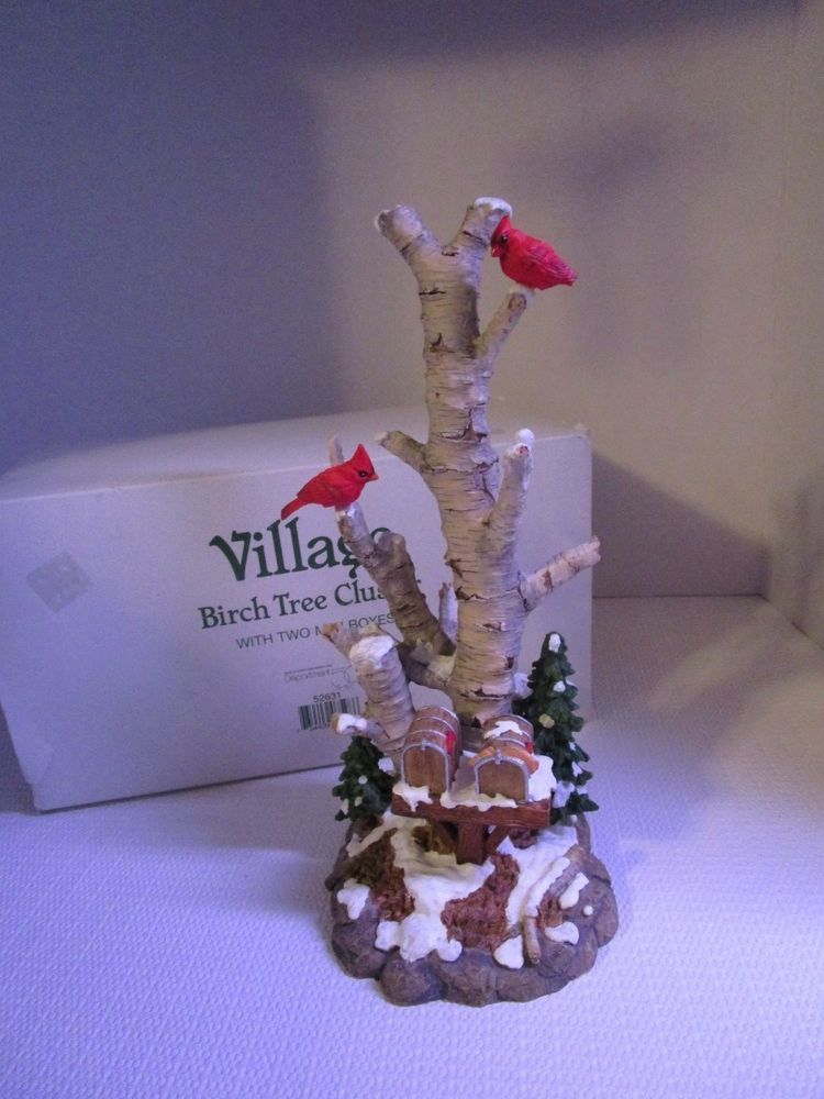Department 56 VILLAGE BIRCH TREE CLUSTER with Two