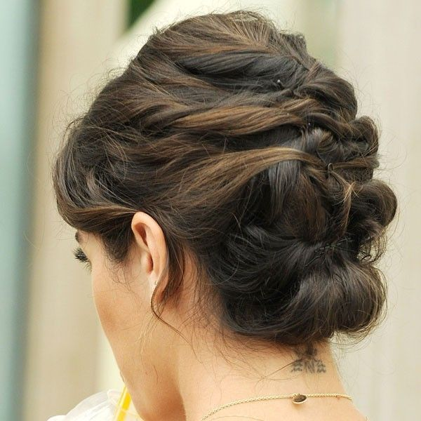 Nikki Reed With French Plaited Updo Liked On Polyvore