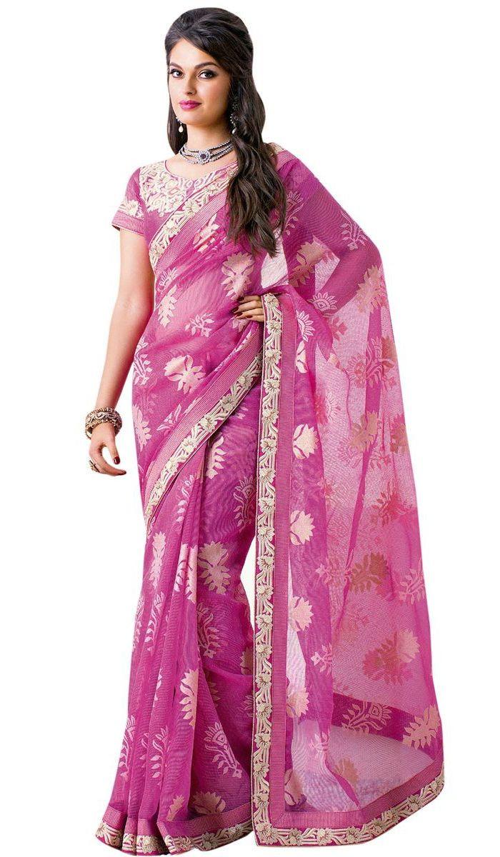 Net saree images sarees  pink embroidered supernet saree costs rs  apparels