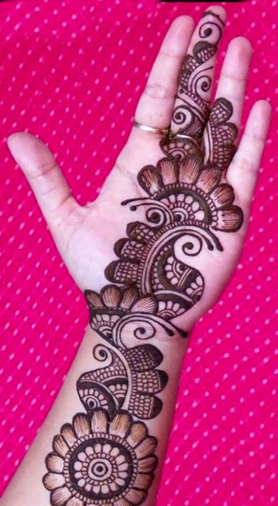 Simple bridal mehndi for front hands trend also full hand easy arabic design latest detailed henna rh pinterest