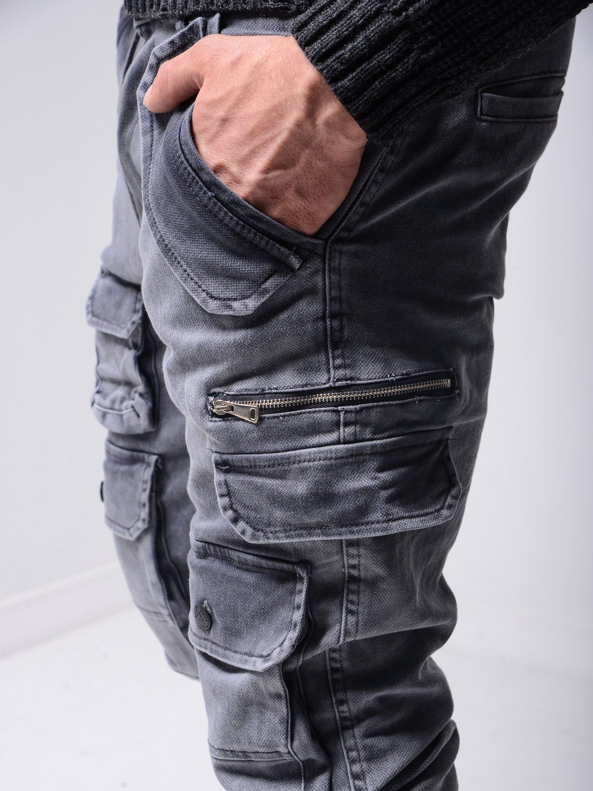 Super Cargo Jeans Washed Gray 4601 Fash Stop Mens Street Style Streetwear Jeans Street Style