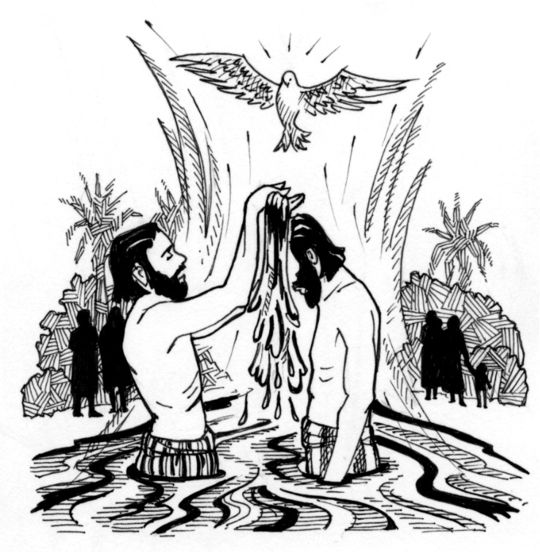 The Baptism Of The Lord Saint Mary S Press Black And White Drawing Baptism John The Baptist