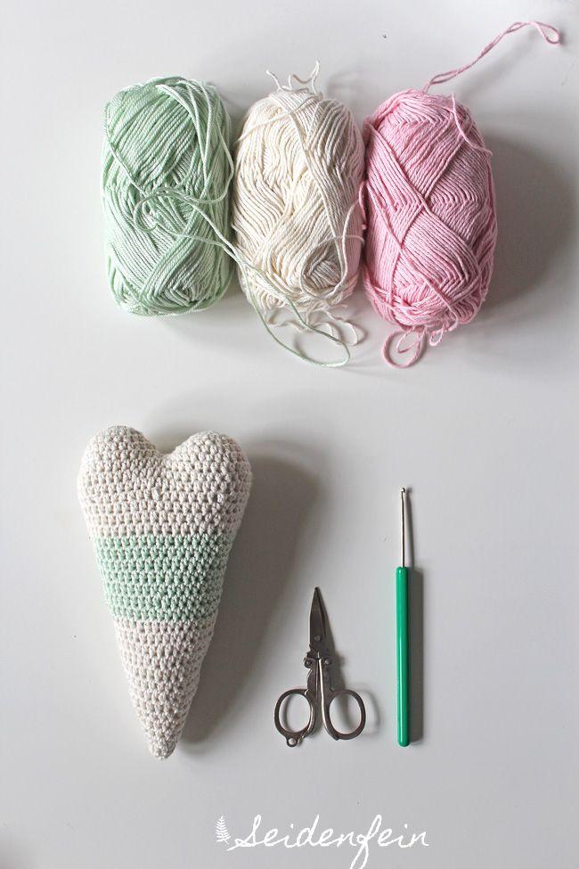 Häkeln Handarbeiten Häkelherz Gefülltes Herz Crochet Crocheting
