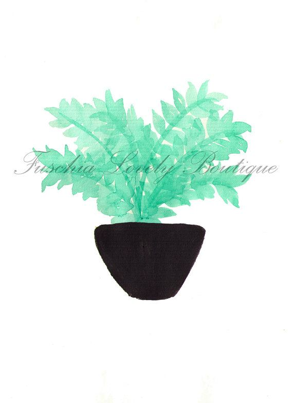Tropical Fern Watercolor Print on Card Stock by fuschialovely, $5.00