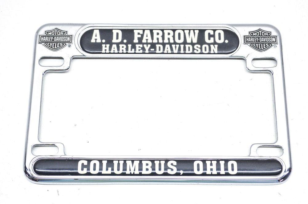 Harley Davidson A D Farrow Co Columbus Ohio License Plate Frame Ebay Motors Parts Amp Motorcycle License Plate Frame License Plate Frames License Plate