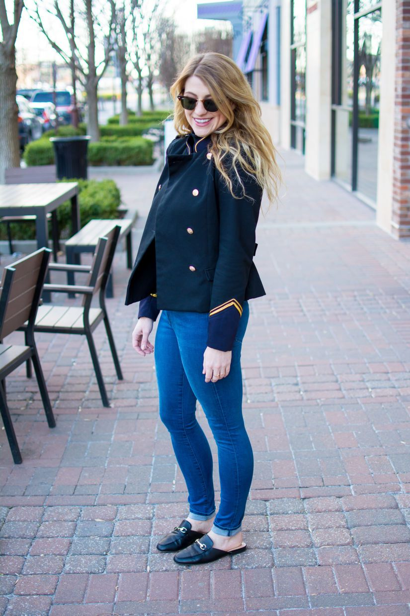 54b7016c6e39c A Military Jacket with Skinny Jeans and Leather Mule Loafers.   Ashley from  Le Stylo