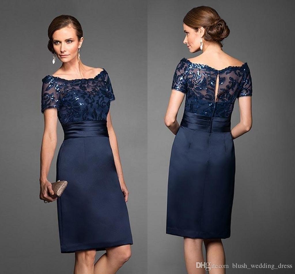 großhandel neueste kurze marineblau mutter der braut kleider