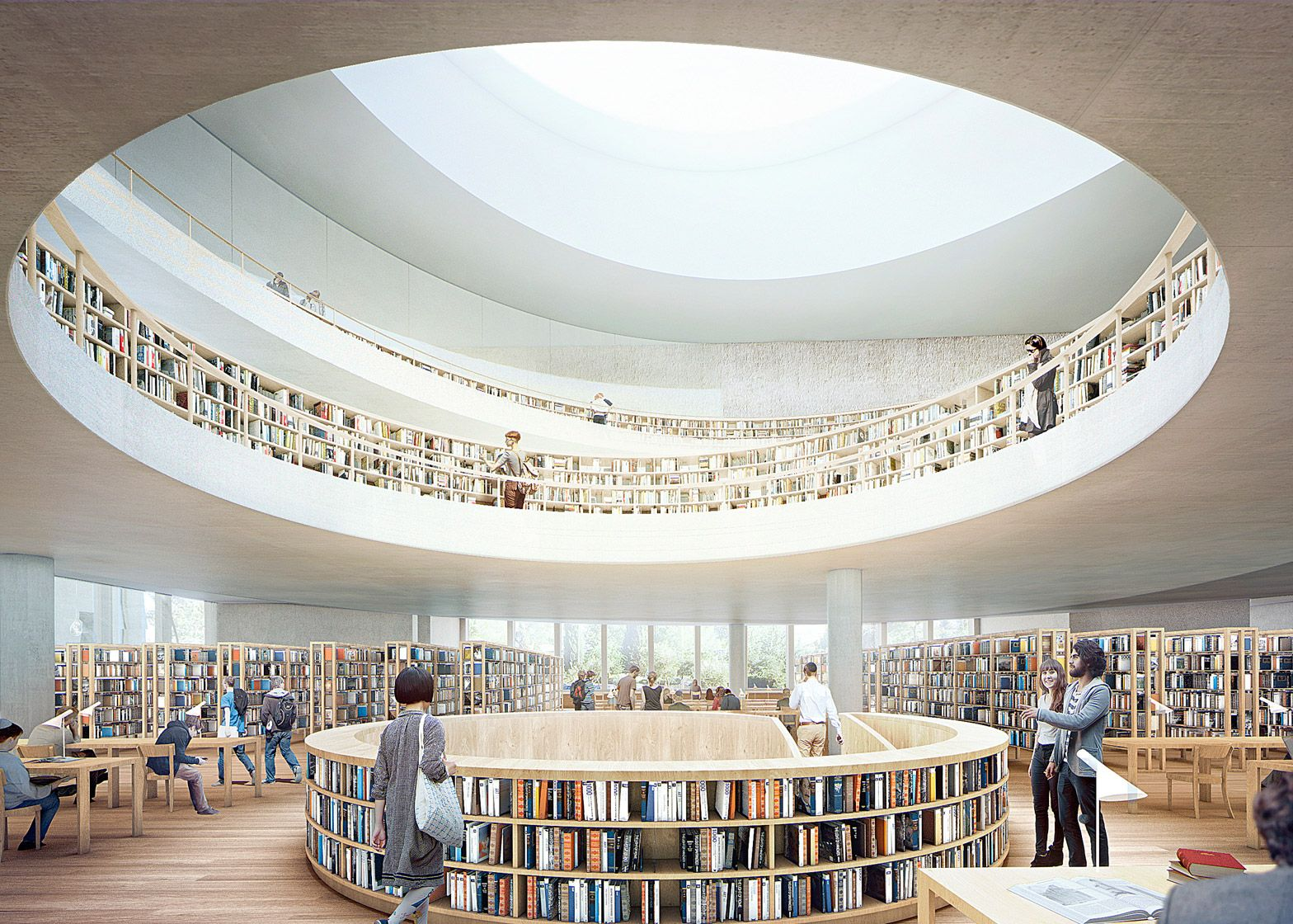 Herzog & de Meuron has released further imagery of its National library of Israel, a stone-clad building with a scooped roofline due to be finished in 2020.