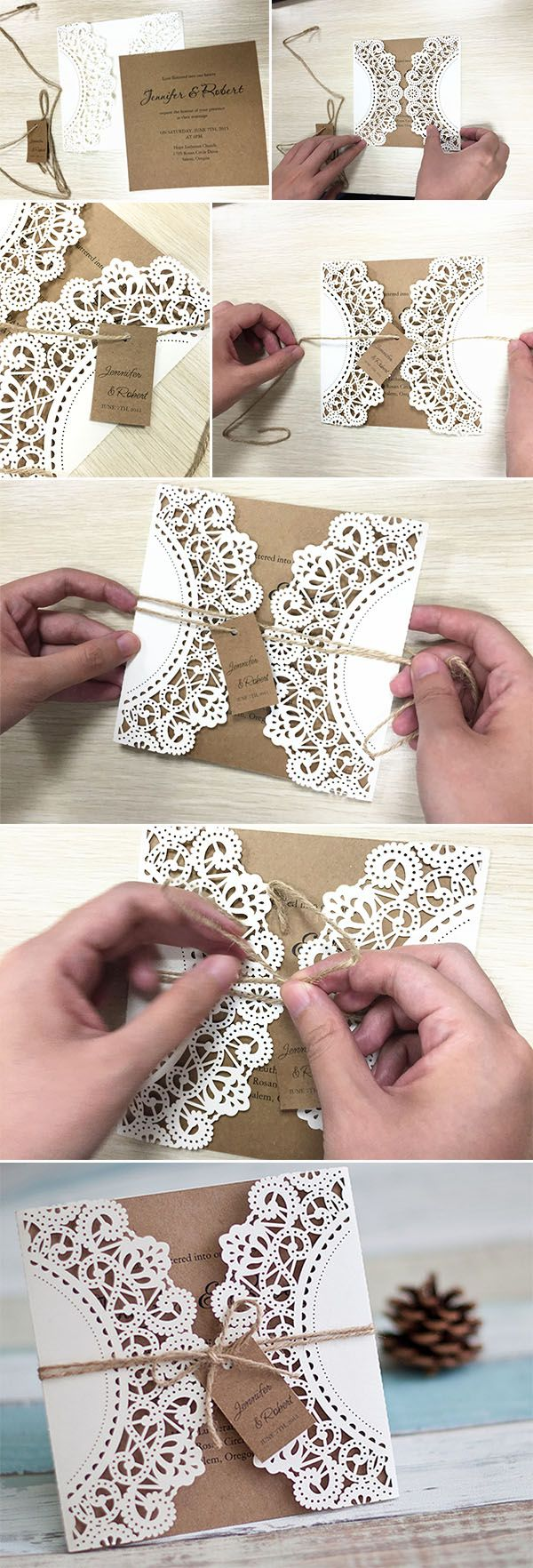 Diy lace and burlap laser cut rustic wedding invitations for country