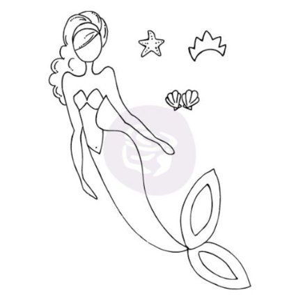 Prima Marketing Mixed Media Doll Cling Rubber Stamps, Sea Sallie Mermaid
