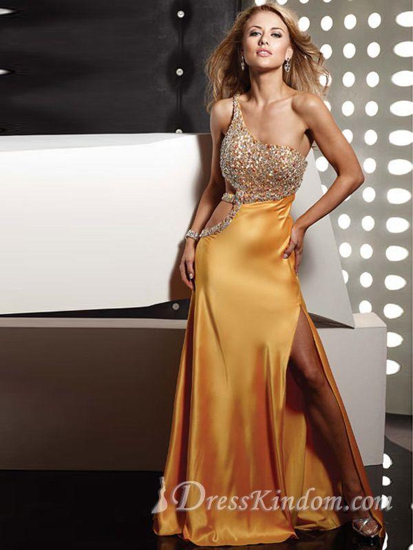 Sexy Chic Sheath / Column One Shoulder Floor-length Silk like Satin Beaded Prom Dress / Evening Dress [10105433] - US$128.99 : DressKindom