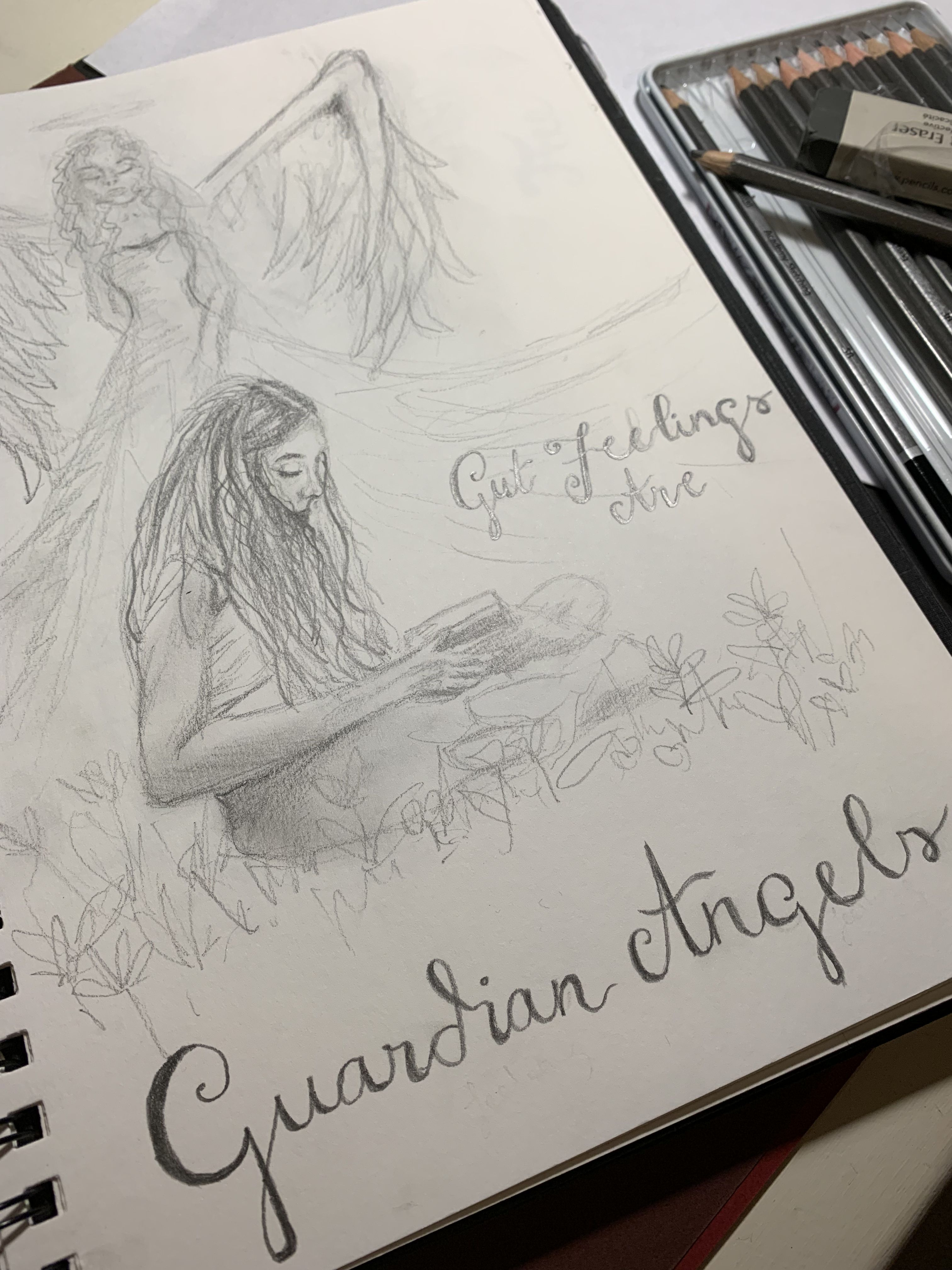 Gut feelings are guardian angels 💫 girl with guardian angel pencil