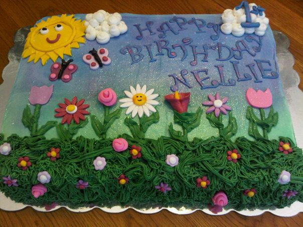 flower garden birthday sheet cake 11x15 sheet cake airbrushed background fondant accents