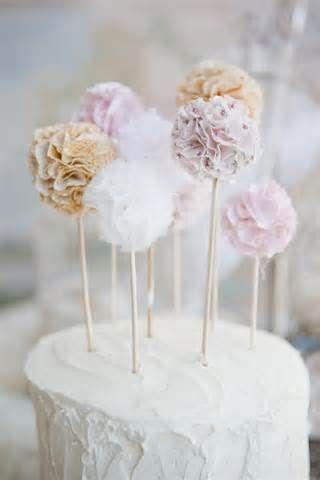 ♔ Pompom cake toppers ~ So cute!