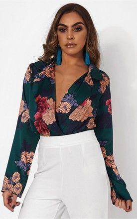 6365218861 Nova Green Satin Floral Print Bodysuit