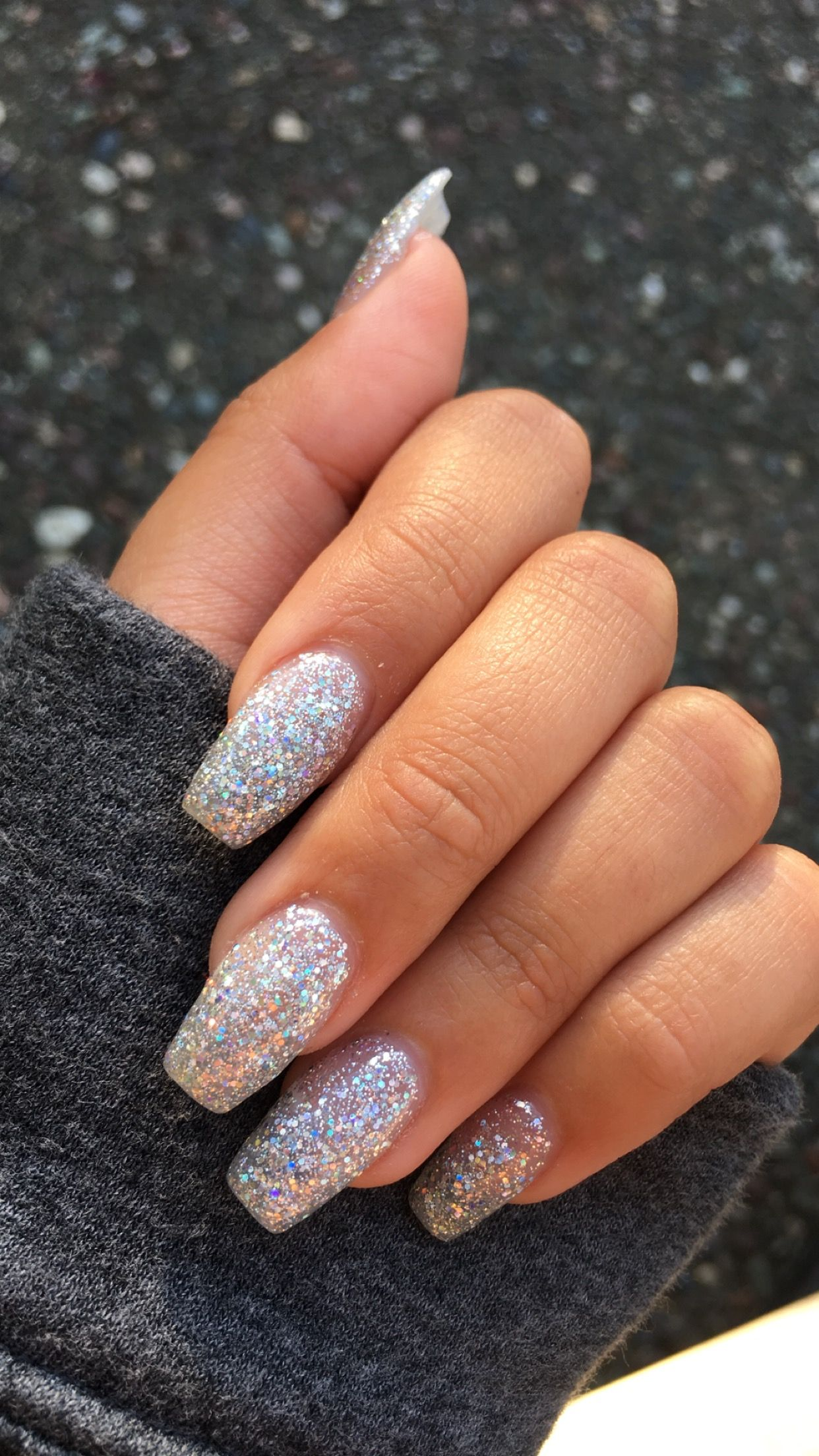 Sparkly Nails Sparkly Acrylic Nails Silver Glitter Nails Pink Holographic Nails