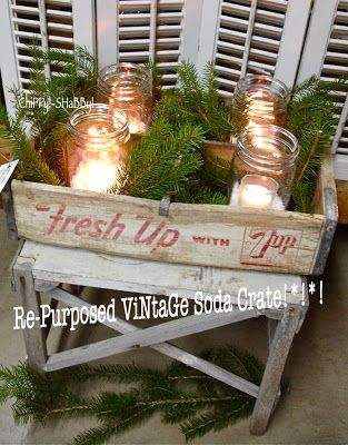 ChiPPy! - SHaBBy! Re-Purposed ViNtage 7UP Crate w/candles...