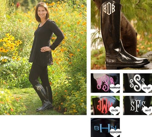 "Monogrammed Boots.....""copperplate"" monogram with the ""L"" in the middle"