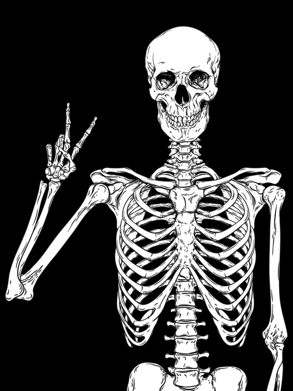 Human skeleton posing isolated over black background vector illustration Acrylic Tray by Original DNA Plus - Medium 15 1/2