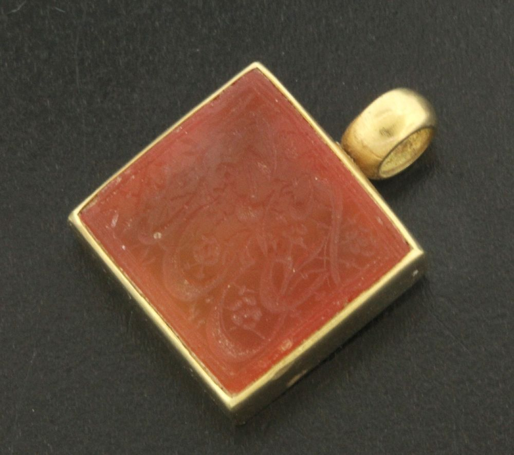 22k Yellow Gold Carved Carnelian Square Pendant in Jewelry & Watches | eBay