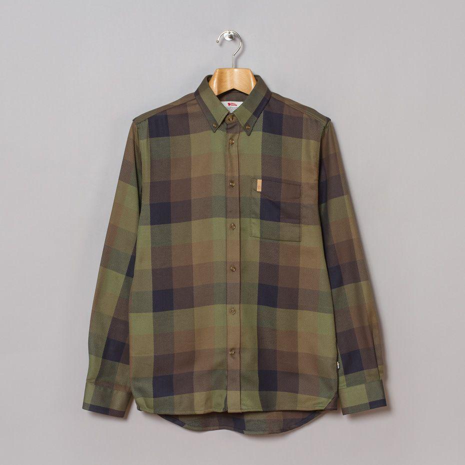 Fjällräven Ovik Big Check Shirt in Dark Olive